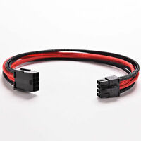 8Pin 30cm ATX Board PSU Power Supply Extension Cable Wire Black Red Sleeved HF