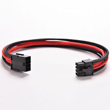 8Pin 30cm ATX Board PSU Power Supply Extension Cable Wire Black Red Sleeved Pop.