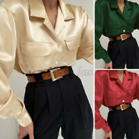 UK Ladies Vintage OL Work Satin Tops Long Sleeve Womens Button Front Blouse 8-26