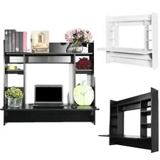Wall Mount Floating Computer Desk Storage With Shelf Laptop Computer Home Study