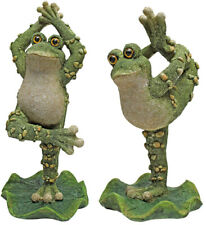 Set of 2 Yoga Stretch Frog Sculptures Figurines Whimsical Dancing Garden Statues