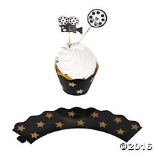 100PC MOVIE NIGHT HOLLYWOOD Party Cupcake Wrappers with Picks 50 Wraps 50 Picks