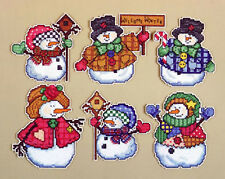 Cross Stitch Kit Design Works 6 Welcome Winter Snowman XMAS Ornaments PC #DW1664
