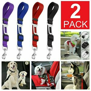2 Pack Cat Dog Pet Safety Seat belt Clip for Car Vehicle Adjustable Harness Lead