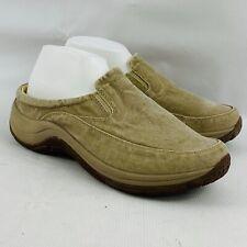 Womens 10W L.L.Bean Mules Khaki Sunwashed Canvas Wide Width Clogs Slip On Shoes