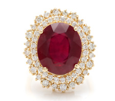 17.60 Carats Red Ruby and Diamond 14K Solid Yellow Gold Ring