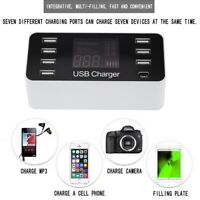40W 8-Port USB Fast Charging LCD Display With Type-C Port Charger Power Stati JC