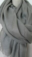 Brunello Cucinelli Luxurious Silver Metalic Grey Cashmere/Silk Scarf