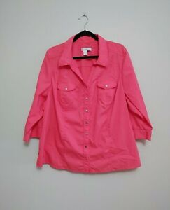 CJ Banks Women's Snap Button Up V Neck Top Size 2X Coral 3/4 Sleeve Blouse