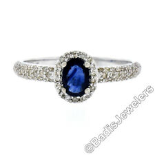 Petite 14K White Gold 1.05ct Oval Sapphire Solitaire & Diamond Halo Promise Ring