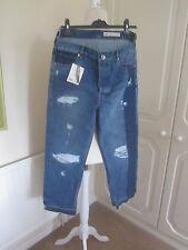BNWT ASOS DENIM 2 TONE BLUE RIPPED FRAYED LOOSE MOM STYLE JEANS SIZE 28 L32
