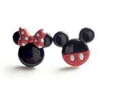 Mickey Mouse Stud Earrings, Minnie Mouse Studs, Jewelry, Retro, Kawaii