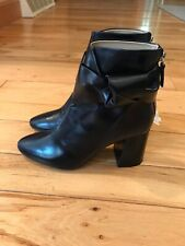 ZARA BLACK LEATHER ANKLE BOOTS HEELS EUR 36 US 6 NEW BOW