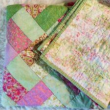 "Patchwork Quilt Nursery Vintage Handmade Reversible Pink Green Floral 61"" x 54"""