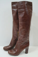 PRADA Chestnut Brown Burgundy Leather Tall Length High Platform Boots EU39; UK6