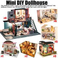 Mini DIY LED Wooden Dollhouse Miniature Wooden Furniture Kit Doll House