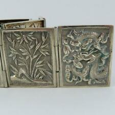 ANTIQUE CHINESE EXPORT DRAGON PRUNIS SCENIC HINGED PANEL SIGNED SILVER BELT