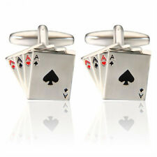 Steel Gift Fashion Jewelry Business 1 Pair 4A Poker Wedding Men's Cuff Links