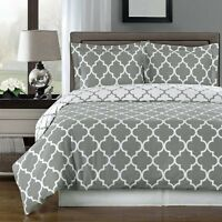 100% Combed Cotton Duvet Cover Set- Meridian Reversible 3-PC 300 Thread Count
