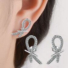 Ribbon Cross Micro-Pave Cubic Zirconia Sterling Silver Stud Earrings Gift BoxS12