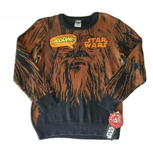 STAR WARS Chewbacca Pullover Knit  Sound Chip Speaking Sweater Boys XS NWT