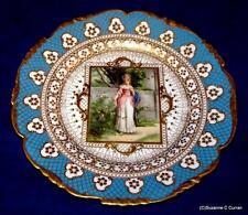 Antique Richard Klemm Dresden Victorian Lady Portrait Cabinet Plate