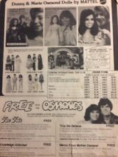 The Osmonds, Osmond Brothers, Dolls, Full Page Vintage Promotional Ad