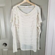 Avenue Womens Blouse Plus Sz 26/28 Cream Ruffle Tiered Sheer Back Short Sleeve