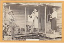Real Photo Postcard RPPC Man in Overalls Two Men as Women Crossdressing Pet Milk