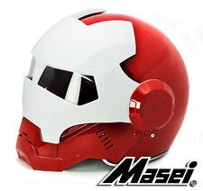 Masei 610 Atomic-Man Iron Flip-Up Bike Motorcycle Helmet Red White