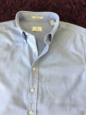 Super Cool 100% Genuine Mens Gant Light Blue Fitted 'Oxford' Shirt In Large