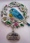 """""""MOTHER & FRIEND A BLESSING TWICE"""" SILVER HANGING DECORATION WITH BLUE BIRD BNIB"""