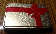 SEASTONE Gold Metallic Tin Gift Box W/Red Bow For Wedding Or Anniversary Gifts