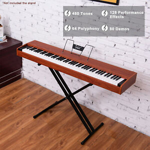 Glarry Portable 88-Key Home Weighted Action Keyboards Digital Piano Walnut
