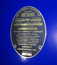 CUSTOM BATMAN 1989 BATWING PROP SERIAL DATA PLATE AIRCRAFT
