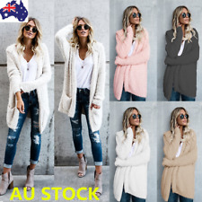 Plus Women Hooded Cardigan Fluffy Fur Warm Parka Outwear Long Sleeve Jacket Coat