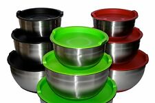 Set of 3 Chef Bowls with Lids non-slip mixing bowl 1 2 3 liters LIGHT GREEN