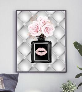 Glam Wall Art Fashion Perfume Print Silver Pink Flowers Lips Modern Bedroom A4 1