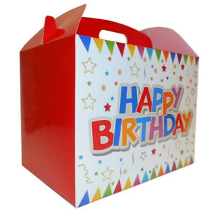 HAPPY BIRTHDAY GIFT BOXES - Gable Boxes, Party Bags, Gift Packaging (pk10)