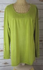 NEW Motto Womens Large Olive Green LS Mixed Stitch Tunic with Button Details L