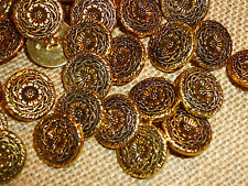 50 x Pretty Gold Antiqued Metal Look Flower Centre 20mm Shank Back Buttons MB40
