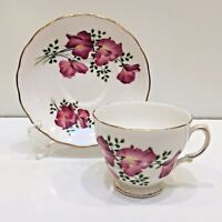 Royal Vale TEACUP & SAUCER Bone China England Pink Sweet Peas Scalloped Edge