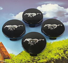 4Pcs Black Running Horse Wheel Center Label Hub Cap Emblem Sticker Ford Mustang