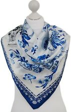 Authentic 100% Pure Silk Scarf Hijab Floral Porcelain Vases Friend Mum Sis Gifts