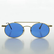 Steampunk Oval Vintage Glasses with Blue Lenses Gold - Hendrix