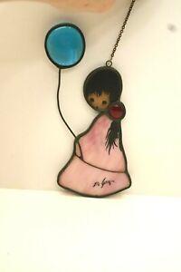SG#15, Stained Glass Suncatcher, Ted DeGrazia, Toney, Girl w/ Balloon,  1980's