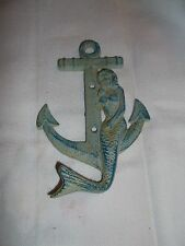 CAST IRON NAUTICAL MERMAID SAILING SHIP ANCHOR BLUE HOME & BEACH DECORATION