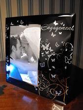 ENGAGEMENT PRESENT  PHOTO FRAME ENGAGEMENT GIFT BLACK GLASS ENGAGEMENT FRAME