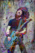 Dave Grohl Of The Foo Fighters Poster, Dave Grohl Art 24x36in Free Shipping
