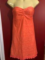 OCEAN DRIVE CLOTHING Women's Coral Orange Strapless Sundress - Jrs Medium - NWT